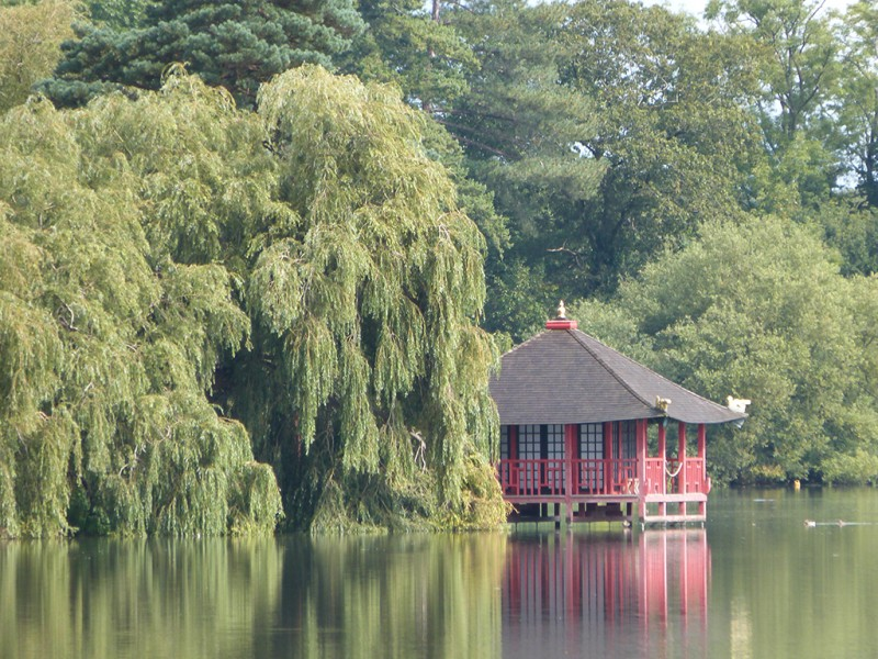 View of tea house from the lake