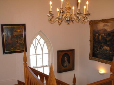 Inside the stair hall at the lodge