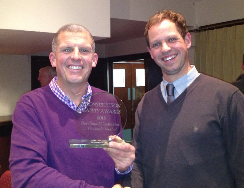 Health & Safety award for C.J.Gowings, Building Contractors – November 2013